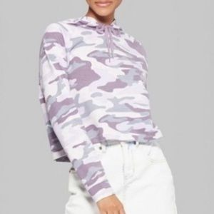 Wild Fable Purple Camo Cropped Sweatshirt